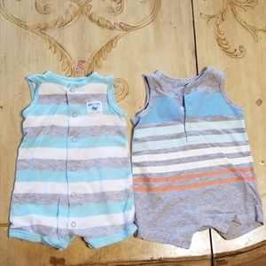 2 3M tank/shorts onesies striped Carters